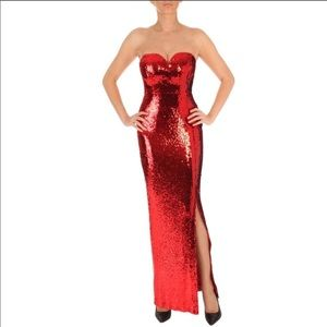 Long red strapless sequin formal dress with slit